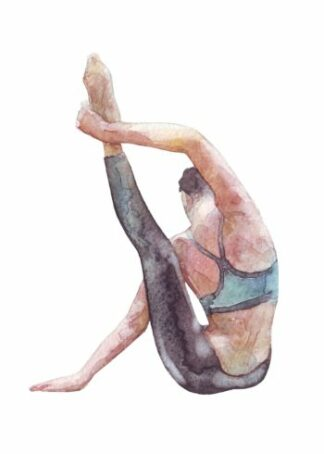 Watercolor painting of woman doing Yoga poster