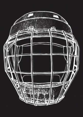 Hockey helmet illustration in sketch style poster