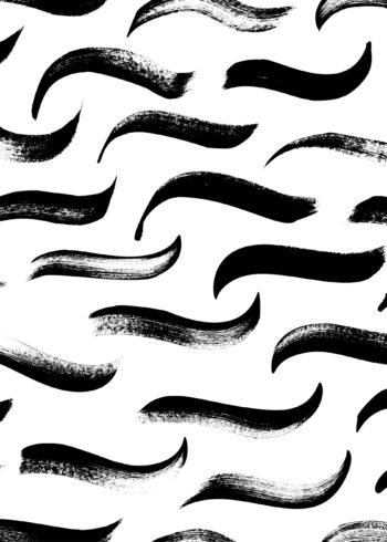 Seamless pattern of waves in black ink poster