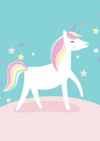 Colorful unicorn cartoon poster