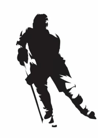 Black silhouette of a hockey player poster