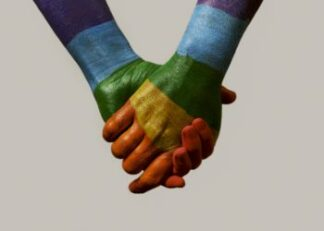 Hands holding with rainbow flag poster