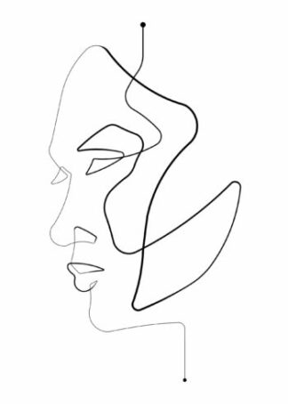 Profile face figure continuous drawing poster