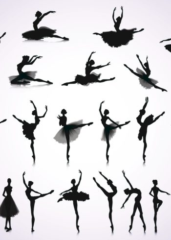Set of ballet dance postures poster