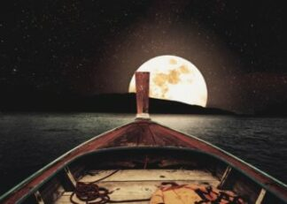 Wooden boat in the moon light poster