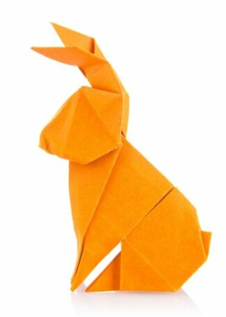 Origami rabbit in orange color poster