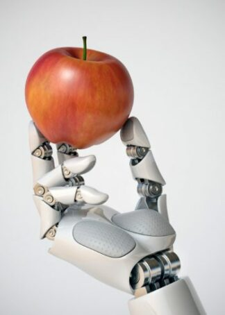 Red apple in robotic hand poster