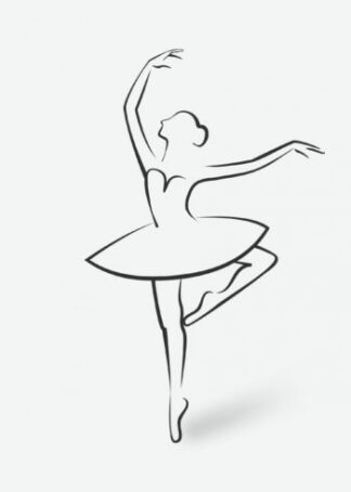 Woman performing ballet dance silhouette poster