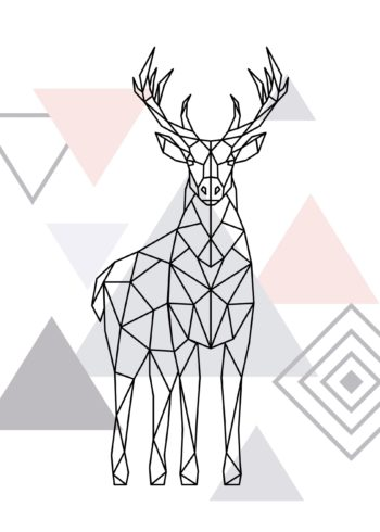 Geometric deer vector in polygons poster