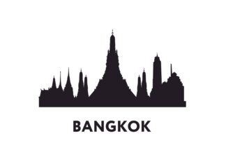 Bangkok silhouette illustration poster