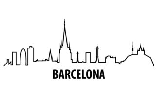 Barcelona outline illustration poster
