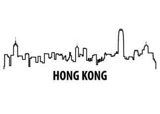 Hong Kong outline illustration poster