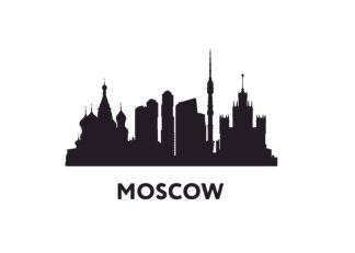 Moscow outline illustration poster