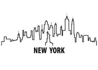 New York outline illustration poster