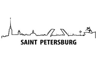 Saint Petersburg outline illustration poster