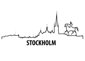 Stockholm outline illustration poster