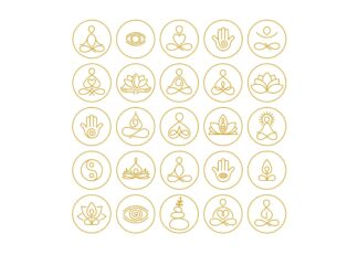 Yoga and meditation outline icons collection poster