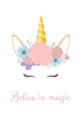 Cute unicorn with flowers poster