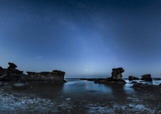 Rauks in Baltic sea of Gotland at night poster
