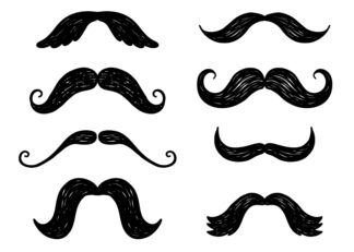 Eight moustaches drawing poster