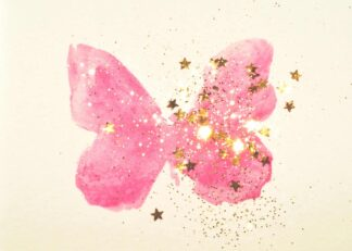Pink watercolour butterfly with golden star poster
