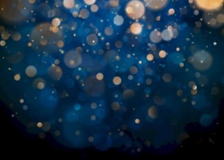 Bokeh on a dark blue background poster