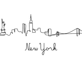 Black ink of new york city skyline in one-line style poster