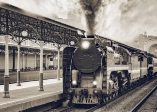 Retro train departs from railway station in Moscow poster