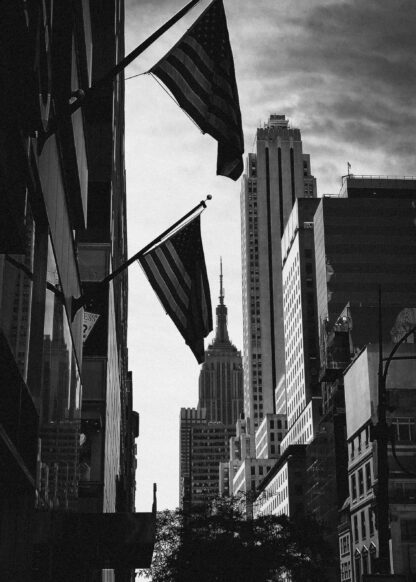 American flags with Empire State Building poster