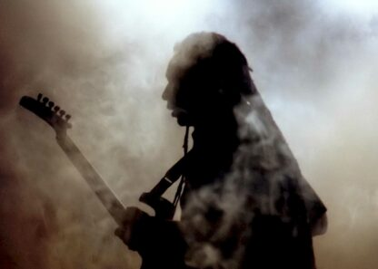 Silhouette of guitar player poster