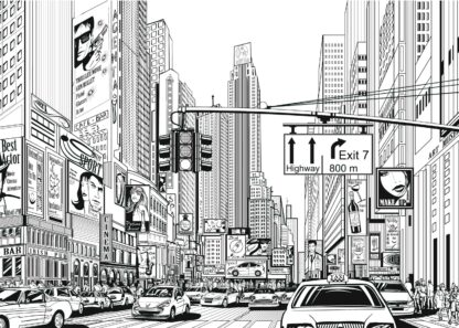 Busy New York City black and white illustration poster