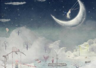 Fantastic winter night in the sky illustration poster