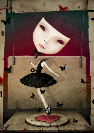 Doll in black dress with mask poster