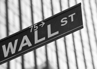 Wall Street sign black and white photograph poster