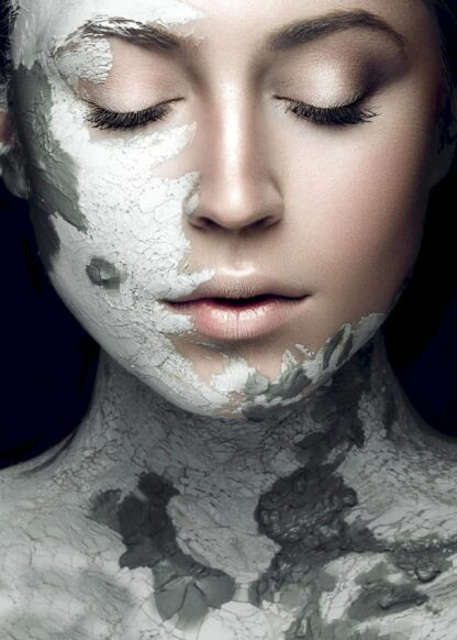 Girl with mud on face portrait poster