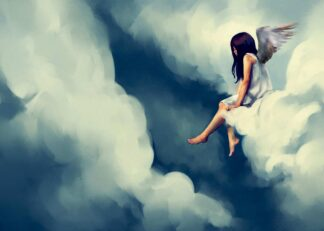 Wondering angel on a cloud poster