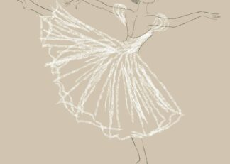 Ballerina in arabesque ballet position pencil sketch style poster