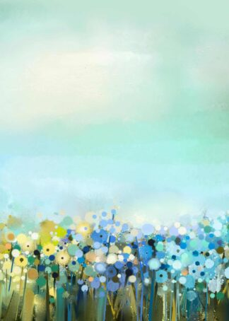 Dandelion field in digital oil painting poster