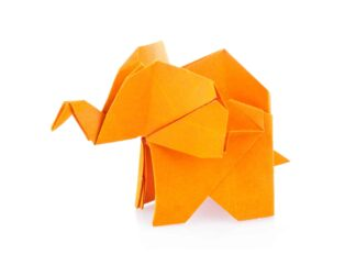 Orange elephant of origami poster