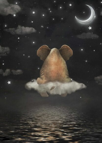 Elephant sitting on a cloud in the night sky poster