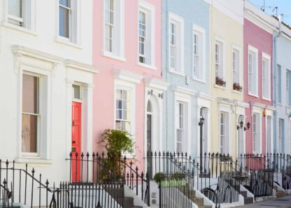 London houses in pastel tones poster