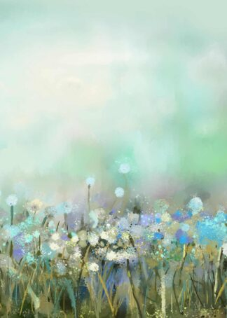 Colorful flower field oil painting poster