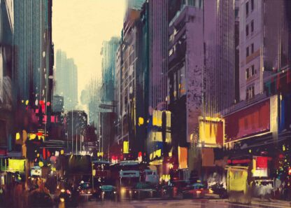 City traffic and colorful light in Hong Kong poster
