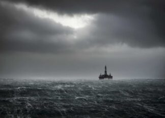 Oil platform on the ocean during a storm poster