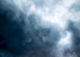 Stormy sky with dark clouds poster
