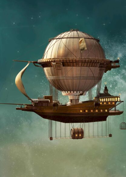 Steampunk airship fantasy illustration poster