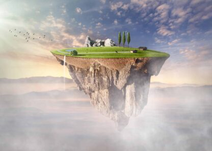 Surreal floating island with meadow illustration poster