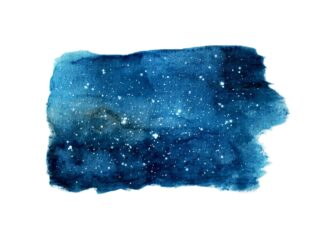 Galaxy in a watercolor stroke poster