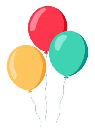 Three colored balloons in cartoon style on white background poster