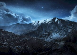 Snow mountains landscape at night poster